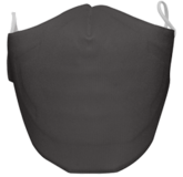 A washable and reusable gray colored cloth face mask with comfortable elastic ear bands